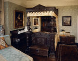Gawthorpe Hall, view of the Huntroyde room showing the carved oak Tester bed C1650