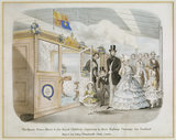 THE QUEEN, PRINCE ALBERT & THE ROYAL CHILDREN DEPARTING IN THEIR RAILWAY CARRIAGE FOR SCOTLAND, a print which hangs on the staircase at Clevedon Court