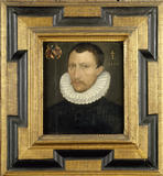 NICHOLAS ELTON (1544-1587) a framed portrait in oil on a panel by English School c.1584 in the State Bedroom at Clevedon Court.