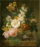 A still life of some flowers on a marble base, signed by van Dael