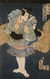 A Japanese Print by Toyokuni, showing a man. One of a collection of prints housed at Standen