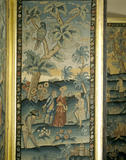 A scene from the needlework screen in the East Gallery