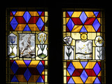 Stained glass in the Lobby between the Ballroom and the Brown Gallery at Knole, Sevenoaks, Kent