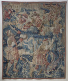 "Flemish, late fifteenth century, tapestry depicting The Eleventh Labour of Hercules ""The Apples of Hesperides"" from the bequest of Sir Malcolm Stewart, on the Staircase at Montacute House, Somerset"