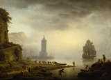 FOUR TIMES OF DAY, MORNING: A PORT IN MIST - FISHERMEN HAULING THEIR BOAT by Joseph Vernet (1714-1789) at Uppark