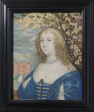 KATHERINE BRUCE, WIFE OF WILLIAM MURRAY by Alexander Marshal, after John Hoskins, miniature painting of 1649 in the Green Closet at Ham House, Richmond-upon-Thames