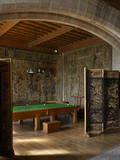 Billard table by Burroughs & Watts, built to Edwin Lutyens' design, in the Billiard Room at Castle Drogo, Devon