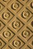 "Plasterwork flower motif of the window recess in the Rotunda, one of Capability Brown's ""eye-catchers"" built 1754-7 at Croome Court, Croome Park, Worcestershire"