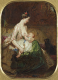 THE YOUNG MOTHER also called INFANT'S REPAST by Ford Madox Brown, (1821-1893), oil on board, at Wightwick Manor, Warwickshire
