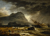 FOUR TIMES OF DAY, MIDDAY: A SHIP OFFSHORE, FOUNDERING IN A STORM by Joseph Vernet (1714-1789) at Uppark
