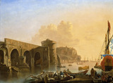 THE RUINED BRIDGE BY A QUAY by Adrien Mangalard 1695-1769