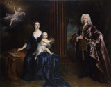 SIR NATHANIEL CURZON WITH HIS WIFE MARY ASSHETON AND THEIR SONS JOHN AND NATHANIEL by Jonathan Richardson the Elder, (1664/5-1745), painting in the State Bedchamber at Kedleston Hall, Derbyshire
