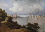THE MENAI BRIDGE, 1828, by George Arnald (1763-1841), painting in the Octagon Room at Plas Newydd, Anglesey