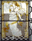 Painted Glass by C E Kempe representing Spring, illustrating the passage from William Morris'