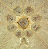 Detail of the highly decorated ceiling of the Boudoir, attributed to Louis-Andre Delabriere