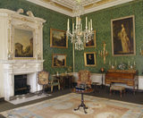 The Green Drawing Room at Clandon showing the fireplace, overmantel and painting of the Roman Temple by the School of Pannini 1691-1765