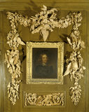 Portrait of 'Old' Sir John Brownlow (1594-1673) by Soest, 1644 surrounded by carving of magnificent game birds, peapods and ears of corn, possibly by Grinling Gibbons