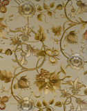 Detail of embroidered firescreen with floral design, including roses and thistles, in the Dining Room at Sunnycroft