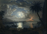 MOUNT VESUVIUS BY MOONLIGHT, THE ERUPTION OF 1787 by Giovanni Battista Lusiere (c. 1755-1821)