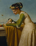 ITALIAN GIRL WITH DOVES signed and dated 1866 by Rafaello Sorbi (1844-1931)