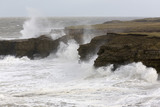 Rough seas in early spring, looking from Lizard Point towards the Wherry, The Leas, South Tyneside