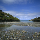 A view of the shingly inlet at Port Gaverne, Cornwall