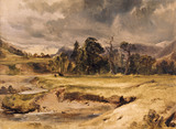 RIVER SCENE WITH CATTLE by Edwin Landseer 1802-1873 painting at Anglesey Abbey