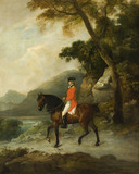 MAN ON HORSEBACK attributed to Francis Wheatley, (1747-1801),in the Small Dining Room in the new house at Scotney Castle, Kent
