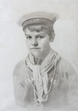 Pencil drawing  by Otto Overbeck of a boy in a sea scout uniform at Overbeck's, Sharpitor, Devon