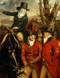 SIR WILLIAM HEATHCOTE, REV. WILLIAM HEATHCOTE AND MAJOR GILBERT OUT HUNTING by Daniel Gardner 1750-1805