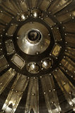 Detail of a Mongolian shield made with hide, leather, copper alloy mounts and metal discs, part of the Charles Wade collection, in Seraphim at Snowshill Manor, Gloucestershire