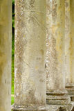 Close view of the columns of the C18th Palladian Bridge at Prior Park, Bath, UK showing the marks engraved by visitors