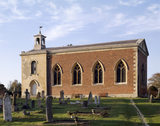 The stark exterior of the Church at Wimpole Hall seen from the south