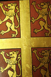 Close view of the coat of arms of Nostell Priory, found in Ann's Room at Snowshill Manor, Gloucestershire