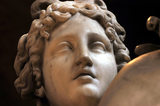 "Close view of Venus' face, a detail of ""Venus, Vulcan and Cupid"" by John Edward Carew (1785-1868) in the North Gallery at Petworth House"