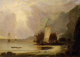 ROCKY COAST WITH FISHING BOATS by the C19th. English School
