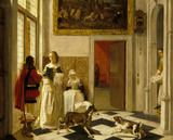 A LADY RECEIVING A LETTER by Ludolph de Jongh (1616-1679) from Ascott