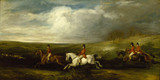 FOUR BROTHER OF THE ROTHSCHILD FAMILY FOLLOWING HOUNDS, C. 1855 by Francis Grant