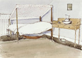 A John Sergeant painting of a canopy bed