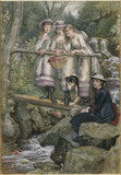 Painting of four girls and a dog standing on a wooden bridge above a stream