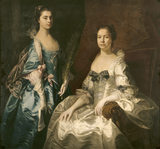 LADY MARTHA DRURY AND HER DAUGHTER MARY, COUNTESS OF BUCKINGHAMSHIRE, attributed to Thomas Hudson and dated 1754