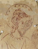 Detail of the face of St Christopher on a wall painting in the Chaplain's Room, off the South Walk in the Nunnery Buildings