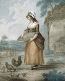WOMAN FEEDING CHICKENS situated at Polesden Lacey