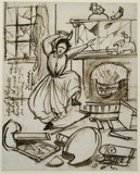 A cartoon caricature of Christina Rossetti by her brother Dante Gabriel Rossetti 1862
