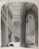 Lithograph of the Grand Staircase in Penrhyn Castle with two hunting dogs, in 1846 by G Hawkins