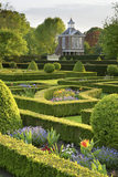The Tall Pavilion built in 1702-3 at Westbury Court Garden, Gloucestershire, UK with the Parterre in the foreground