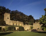The sun shines down on Dyrham Church and the West Front of the house on a beautiful Autumn's day