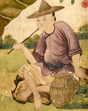 Detail of C18th Chinese wallpaper at Belton House in the Chinese Bedroom