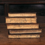 Four volumes of Dr. Barrow's Sermons and one volume on Industry lying on their sides, with author and title hand written on the fore-edge at Townend (Troutbeck).