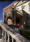 An oblique view up the steps to the main entrance of Clandon